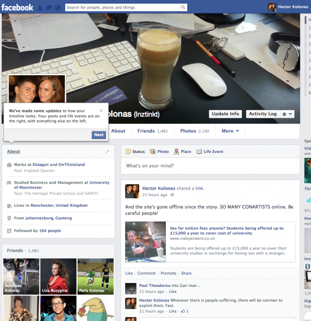New Layout for Facebook Timelines